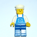 Lego retro solid stud 80's  white hat and overalls minifigure (1)